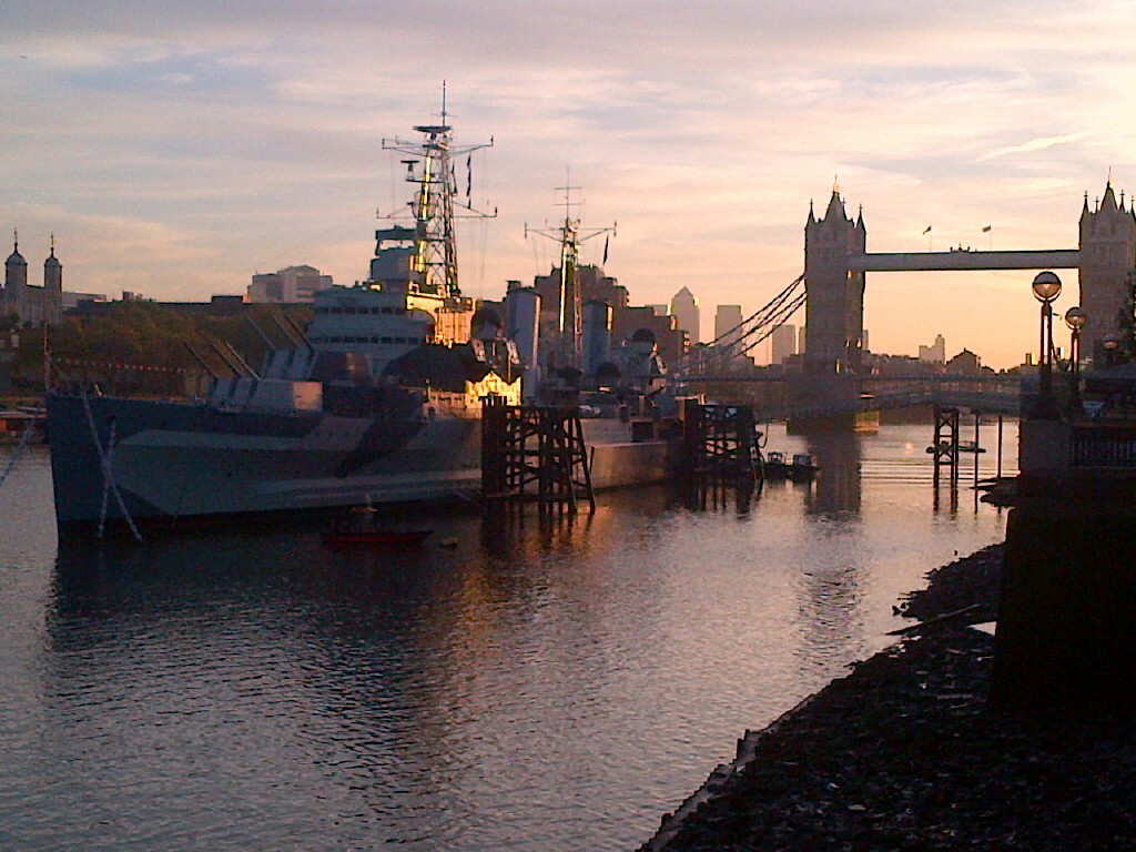 The HMS Belfast at dusk